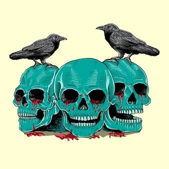 Schädel und krähe illustration