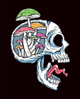 Schädel und pilz