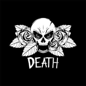 Schädel und rose illustration schwarz und weiß für t-shirt