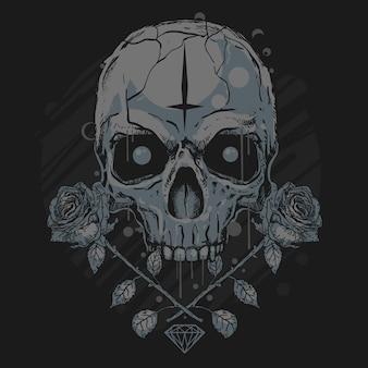 Schädel und rosen-kunstwerk-diamant