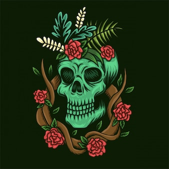Schädel und rosenvektorabbildung