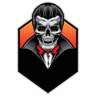 Schädel-vampir-vektor-illustration-logo