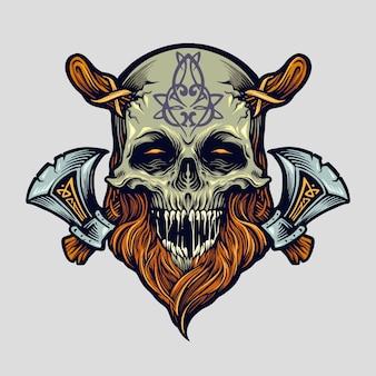 Schädel wikinger krieger mit axt für logo
