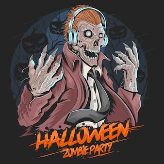 Schädel-zombie-dj-musik-party-halloween-elementvektor