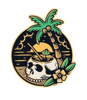 Schädelcocktail mit kokospalmen und blumen am strand premium