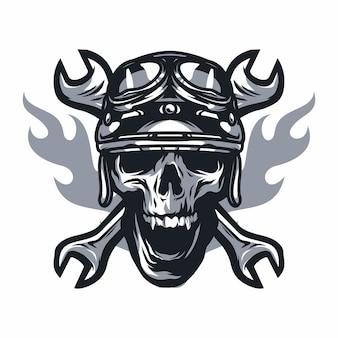 Schädelgeisterreiterstraßenvektor-logodesignillustration