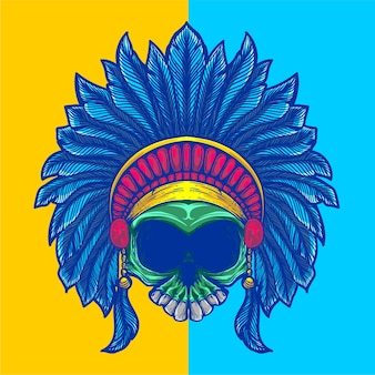Schädelgrafik mit indianerhut