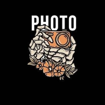 Schädelhand mit kamera clipart premium