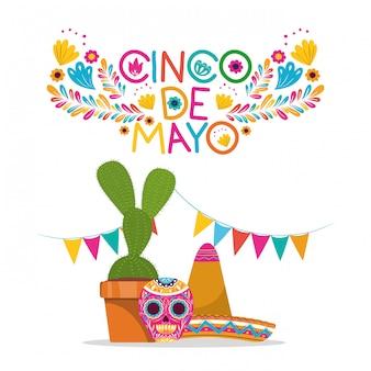 Schädelhut und kaktus entwerfen, kulturtourismusmarksteinlatein cinco des mayo mexiko und parteithema vector illustration