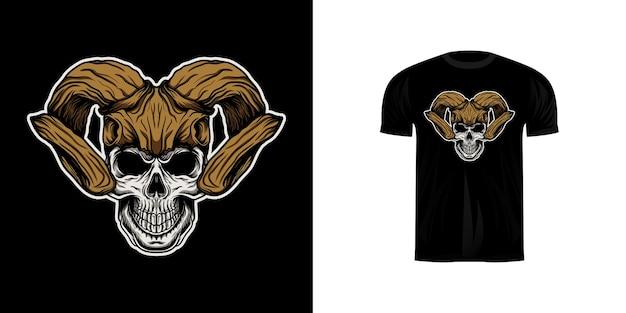 Schädelillustration mit hirschschädelhelm für t-shirt design