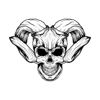 Schädelillustration mit hirschschädelhelm mit strichgrafikart für t-shirt design