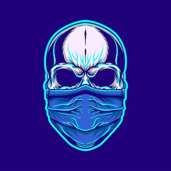 Schädelillustration unter verwendung einer maske im retro-neonstil