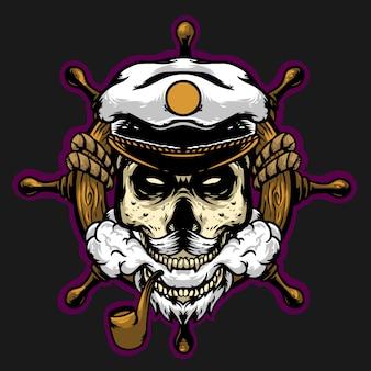 Schädelkapitän mit proppeler maskottchen design maskottchen club logo