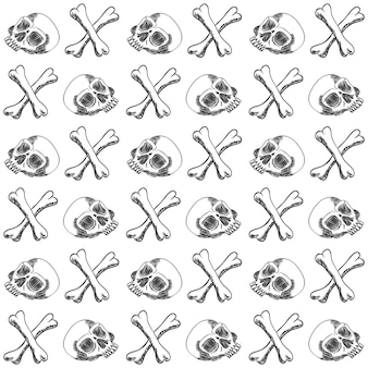 Schädelknochen handdraw muster-vektorillustration