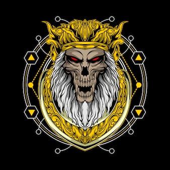 Schädelkönig mit heiliger geometrie