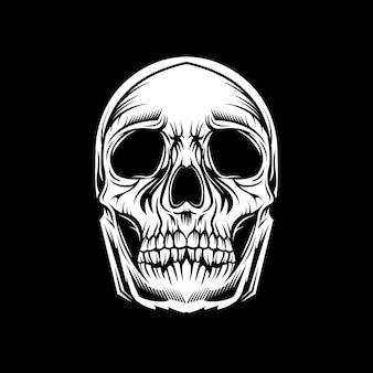 Schädelkopf auf schwarzem