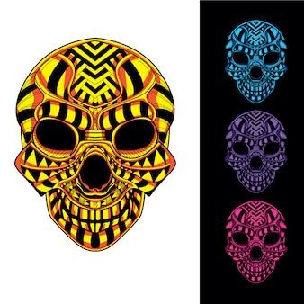 Schädelkopf aus dekorativem muster mit im dunkeln leuchtendem farbsatz