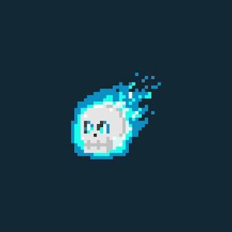Schädelkopf der blauen flamme des pixels