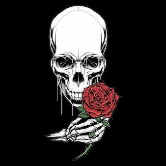 Schädelkopf, der eine rosenillustration hält