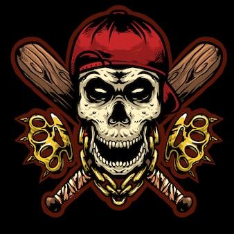 Schädelkopf gangsta mit knöcheln und baseballstäbchen logo design maskottchen