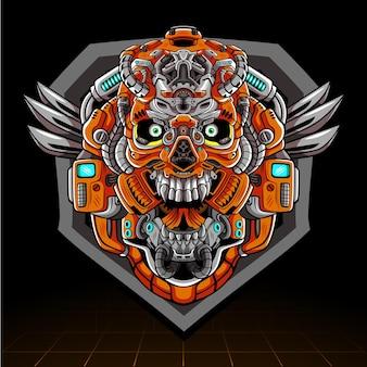 Schädelkopf mecha roboter maskottchen esport logo design