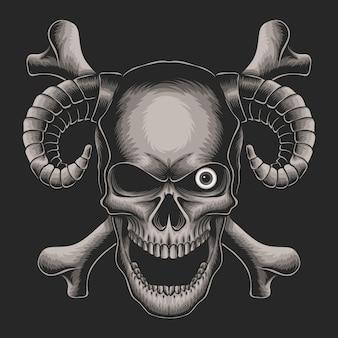 Schädelkopf mit einäugiger abbildung auf schwarzem hintergrund