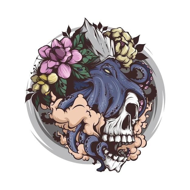 Schädelkopf mit krakenillustration