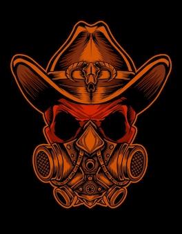 Schädelkopf mit masker und cowboyhut