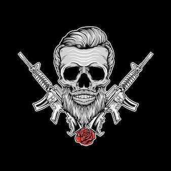 Schädelkopf mit pistole und blumenvektorillustration