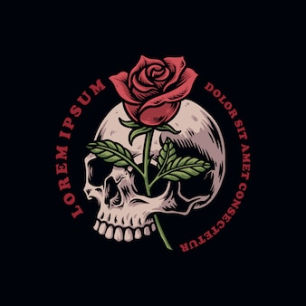 Schädelkopf mit rosenvektorillustration