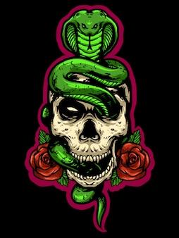 Schädelkopf mit schlangen- und rosenlogo-maskottchenentwurf