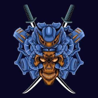 Schädelkopfillustration mit samurai-roboterkonzept
