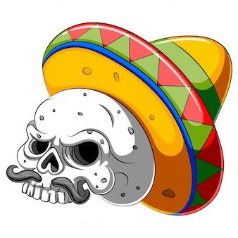 Schädelkopfkarikatur mit sombrero