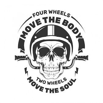 Schädelmotorrad mit ruder. bewegen sie den körper.