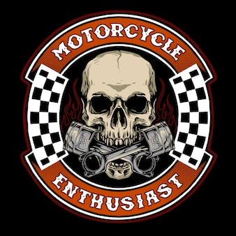 Schädelradfahrer mit kolben, geeignet für motorradartikel oder logo-servicewerkstatt