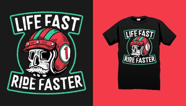 Schädelrennfahrer mit schnurrbart-t-shirt design