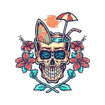 Schädelsommerstrand-t-shirt grafikdesign, hand gezeichnete linie mit digitaler farbe
