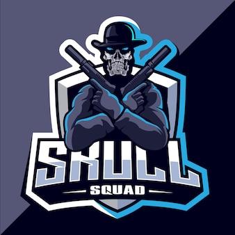Schädeltrupp mit gewehrmaskottchen-esport-logo-design