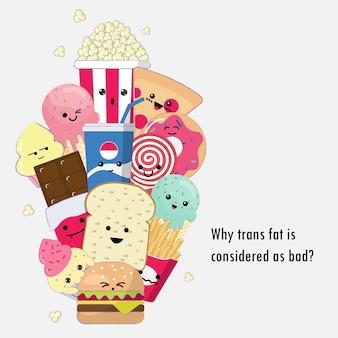 Schädlich trans-fettes nettes karikaturgekritzel