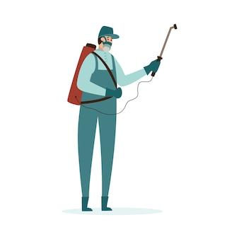 Schädlingsbekämpfer-mann-zeichentrickfigur, die ein insektizid sprüht