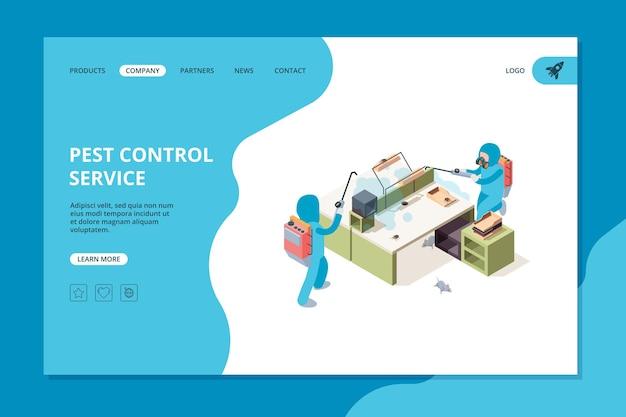 Schädlingslandung. web-vorlage für professionelle giftvernichter von insektiziden. desinfektionsinsekt, sprühgiftige abbildung