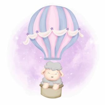 Schäfchen mit fliegenden ballon