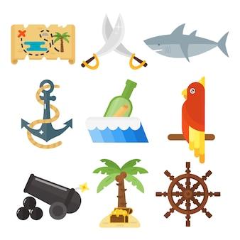 Schätze piratenabenteuer zubehör und tiere eingestellt.
