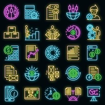 Schätzer-symbole gesetzt. umrisse von schätzern vektorsymbole neonfarbe auf schwarz