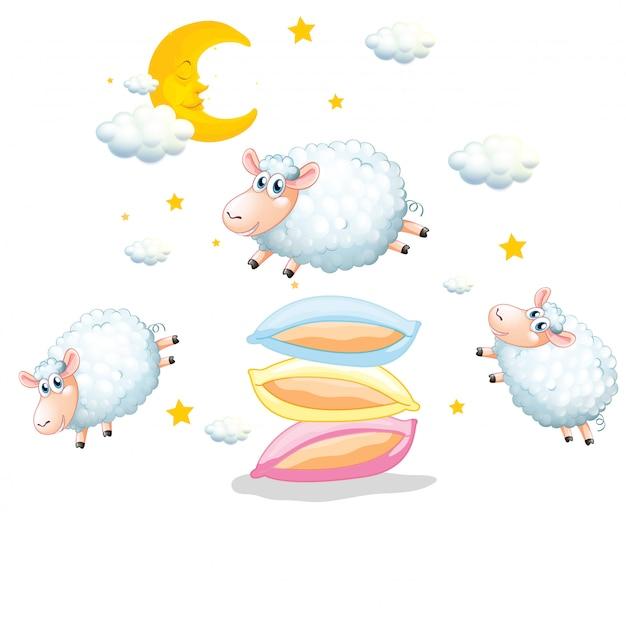 Schafe, die über die kissen auf weiß springen