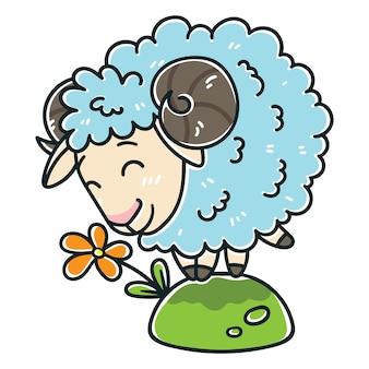 Schafe mit einer blume.