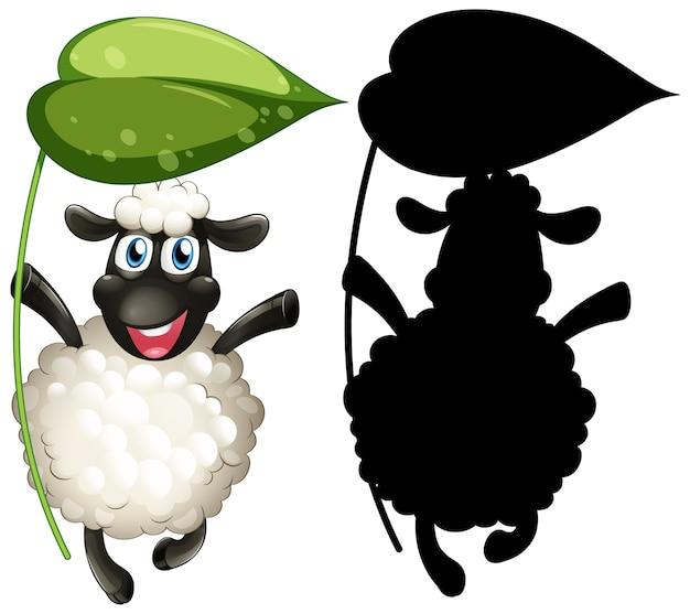 Schafe mit ihrer silhouette