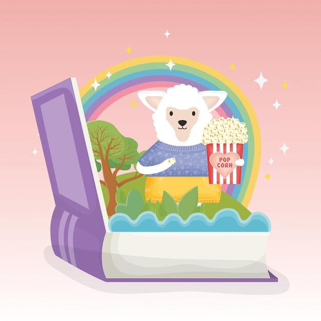 Schafe mit popcornbuch-regenbogenphantasiemärchen
