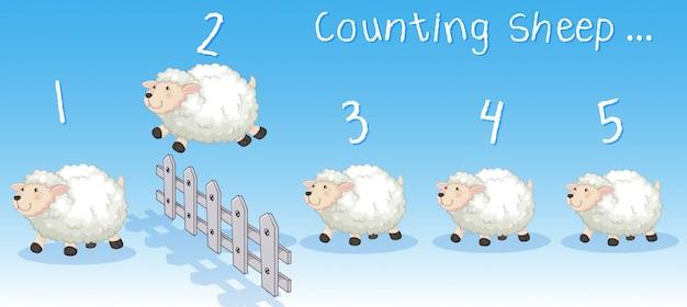 Schafe springen über den zaun