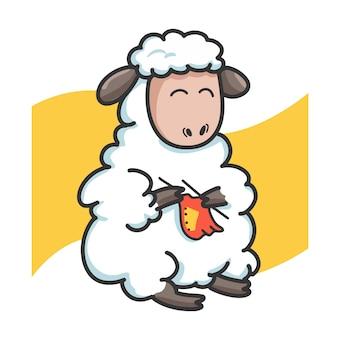 Schafe stricken tuch zeichentrickfigur
